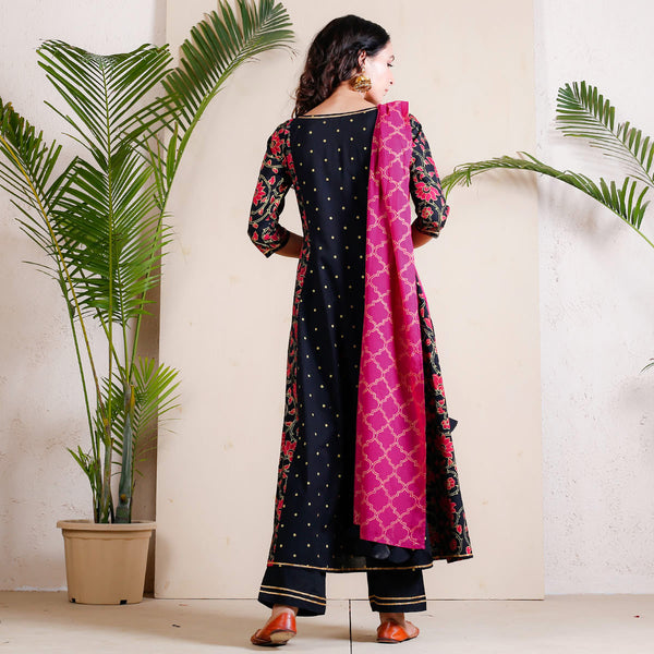 Black & Pink Lotus Printed Full Kurta Set with Dupatta & Tassel Details