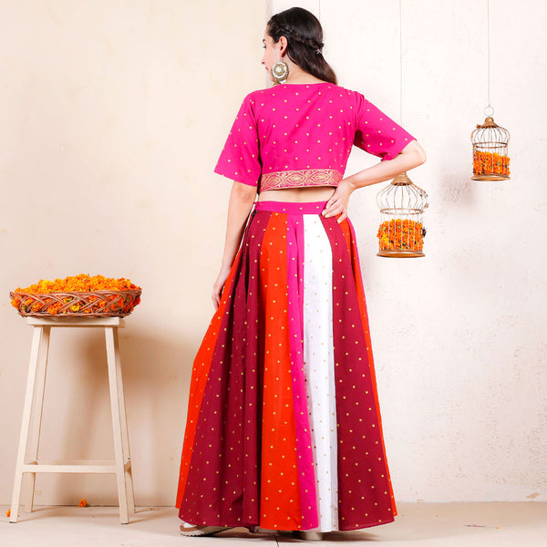 Gulal Multicoloured Festive Lehenga Crop Top Set