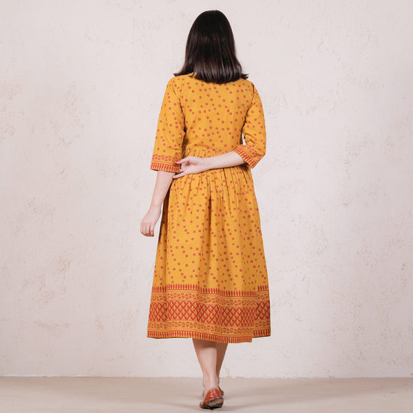 Yellow Chintz Floral Printed Gathered Dress