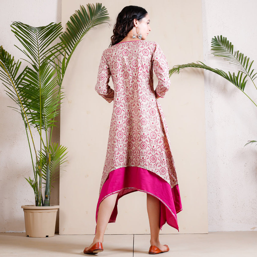 Beige Bagh Printed Asymmetric Cotton Dress with Magenta Underlayer