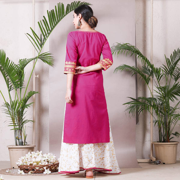 Magenta Gold Printed Kurta with White Skirt