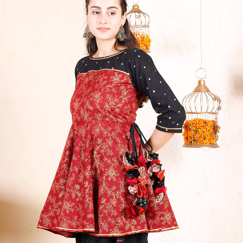 Maroon & Black with Gold Prints Dhoti Peplum Top Set