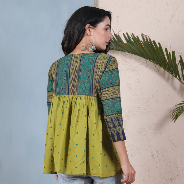 Olive & Teal Ajrakh Inspired Front Open Gathered Shrug
