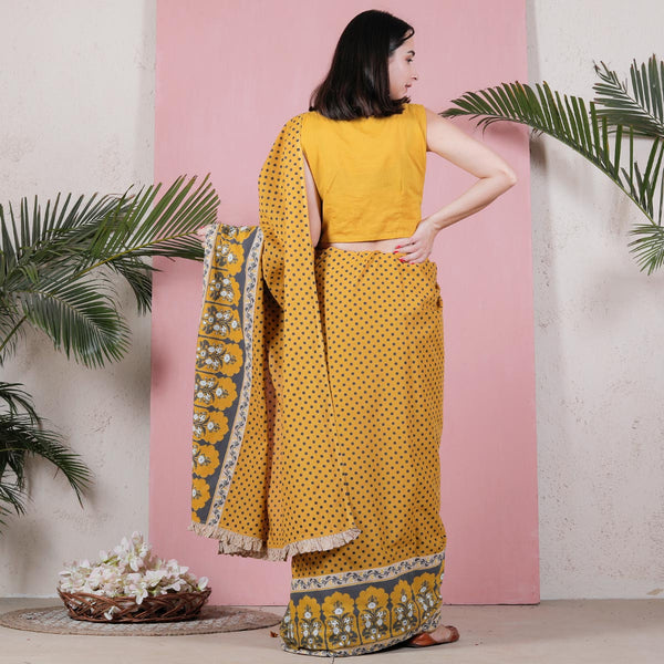 Yellow Polka Printed Cotton Saree with Temple Border