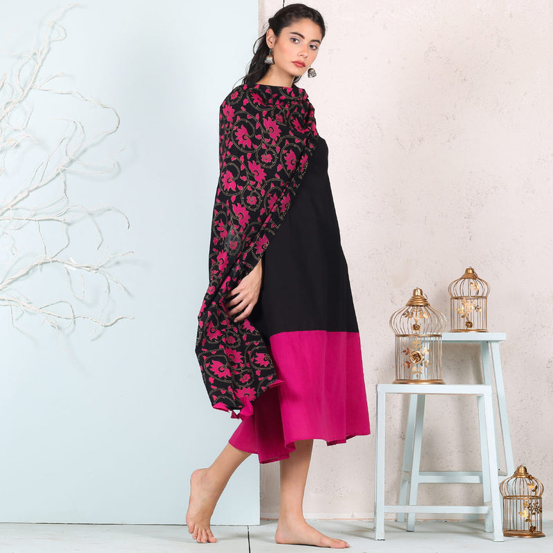 Black & Pink Flared Long Kurta Dress with Black Printed Odhna with Tassel Details