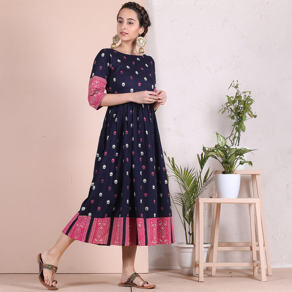 Blue Sanganer Inspired Cotton Gather Dress with Heavy Border Details