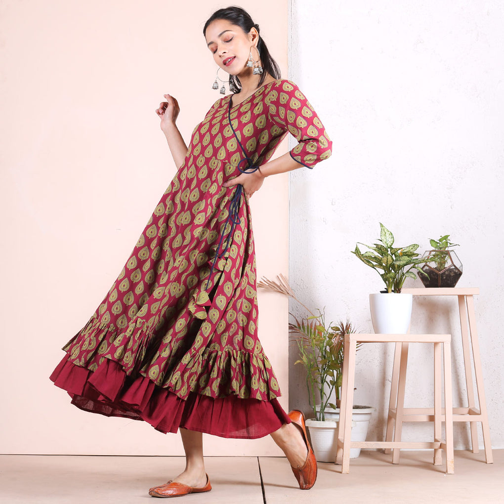 Maroon Betel Leaf Double Frill Angrakha Dress