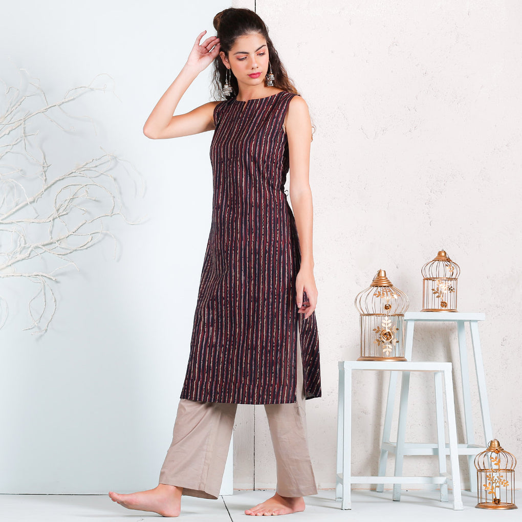 Black Multicolour Striped Keyhole Sleeveless Cotton Kurta
