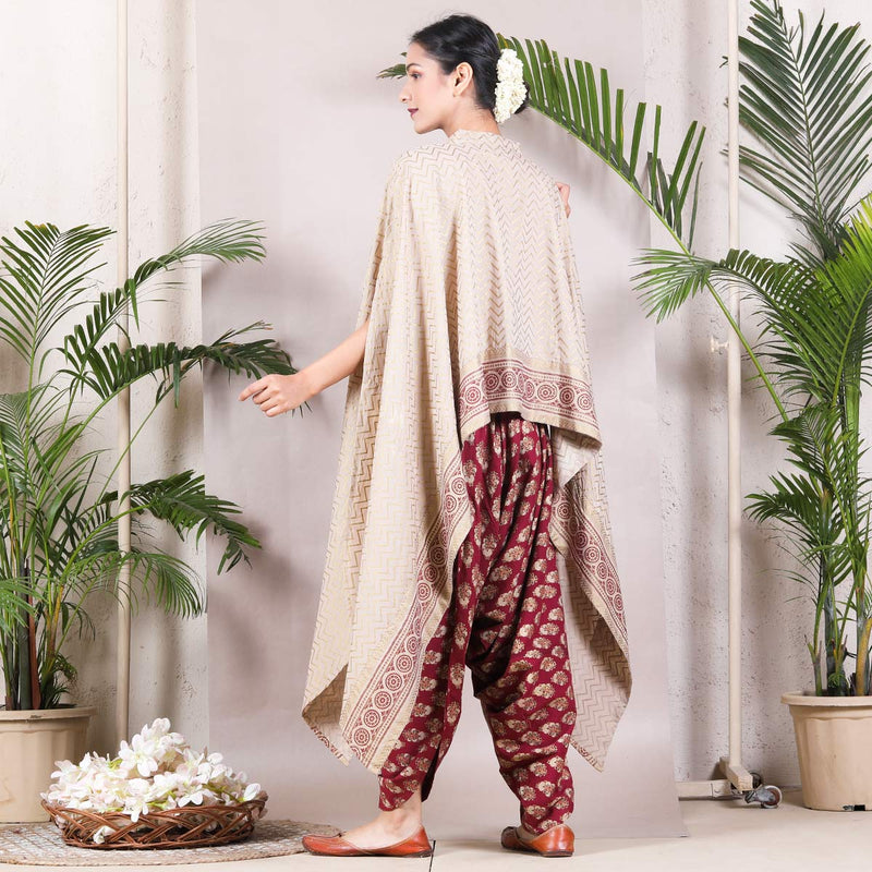 Beige & Maroon Dhoti Cape Set with Tassel Details