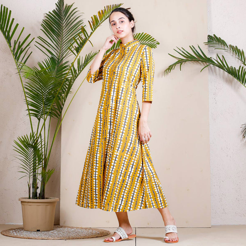 Yellow Stone Printed Shirt Dress
