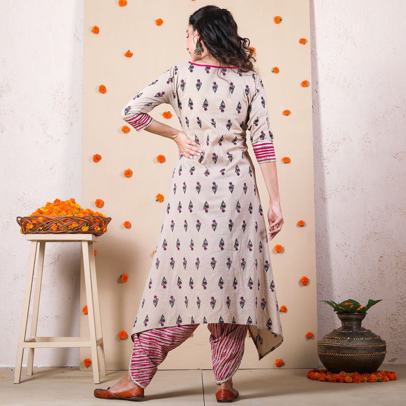 Beige Striped Dhoti & Floral Asymmetric Kurta Set with Gota Details
