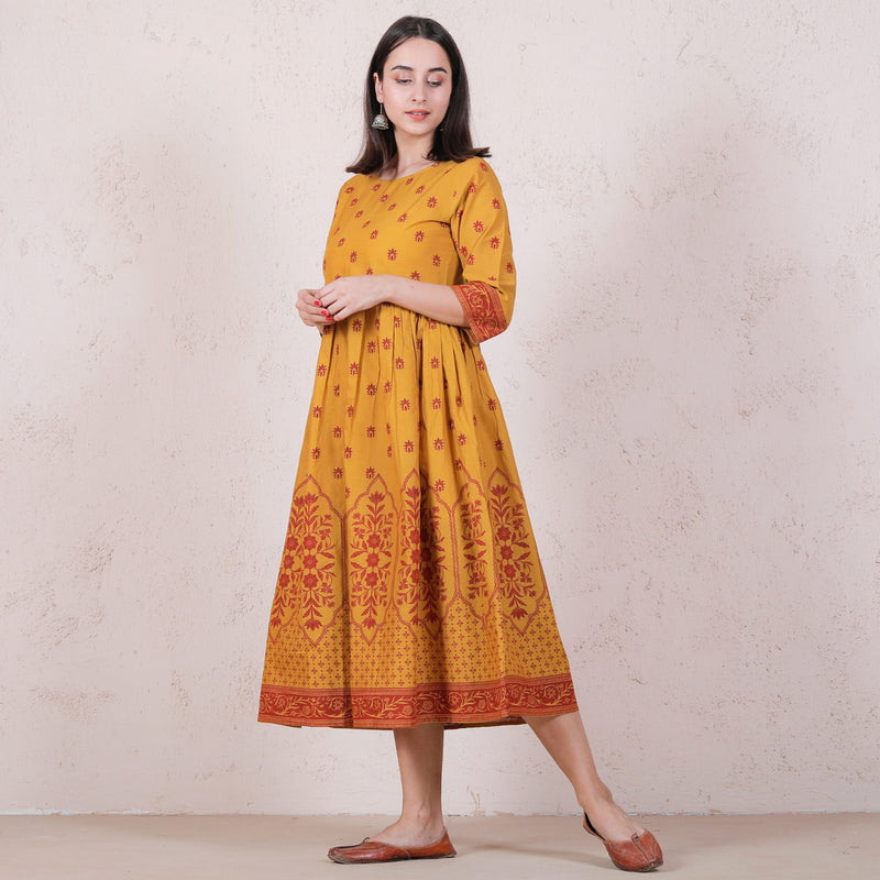 Yellow Mughal Floral Gathered Dress
