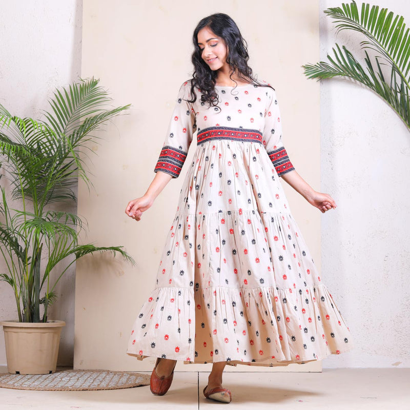 Beige Buti Printed Tiered Cotton Dress
