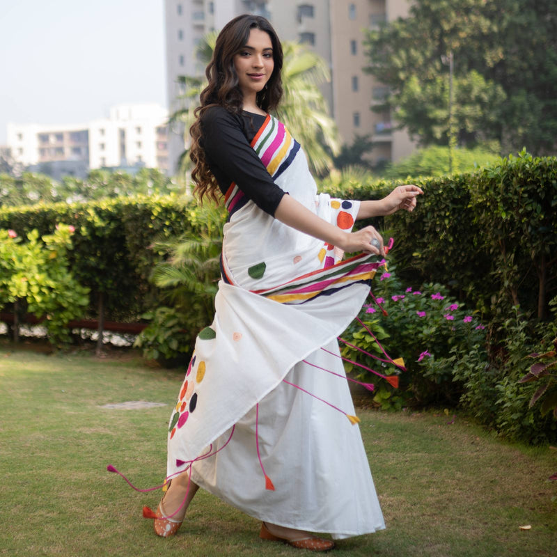 Off White Multicoloured Polka Dots Embroidered Saree