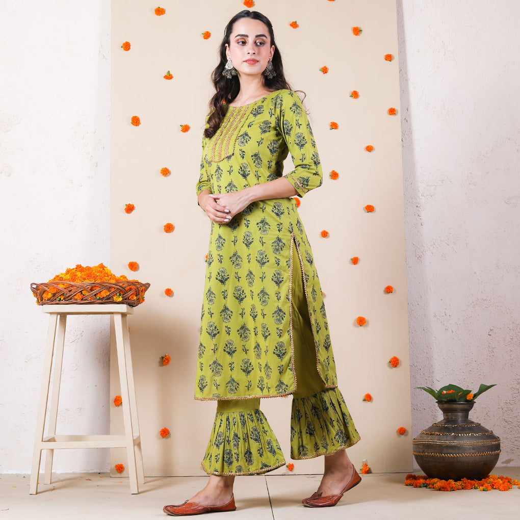 Olive Kurta Set with Frilled Pants & Gota Work