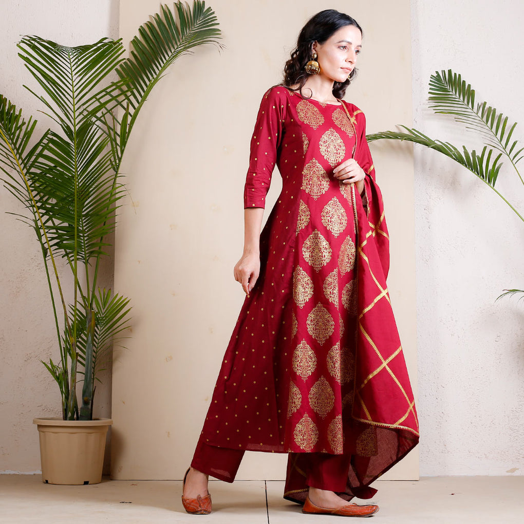 Maroon Festive Buta Printed Full Kurta Set with Dupatta