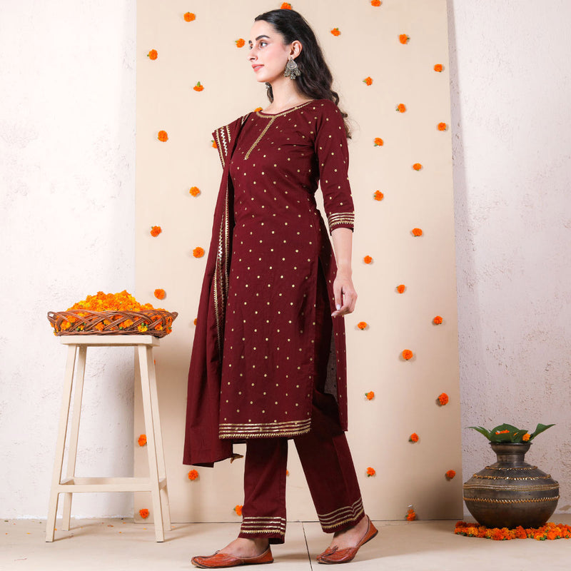 Maroon Bindi Kurta Set with Dupatta & Gota Work