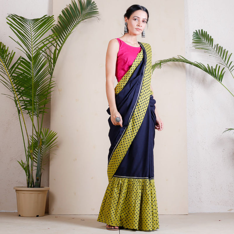 Blue Moon & Olive Polka Froth Saree