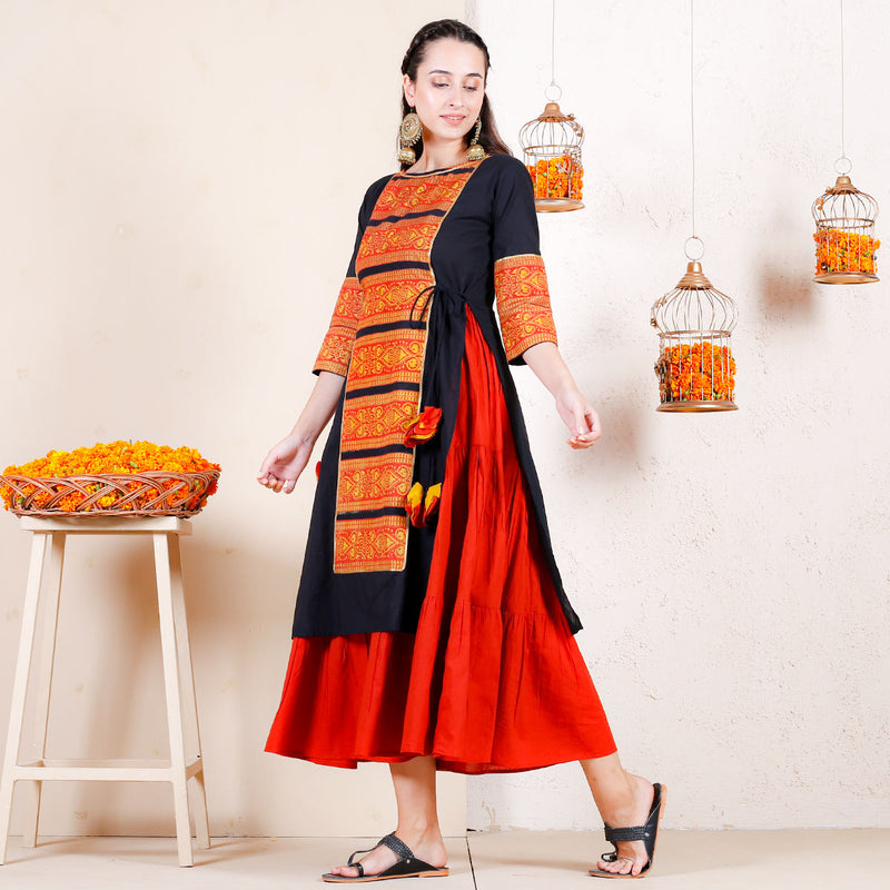 Gendaphool Over Layered Tiered Kurta Dress with Tassle Details