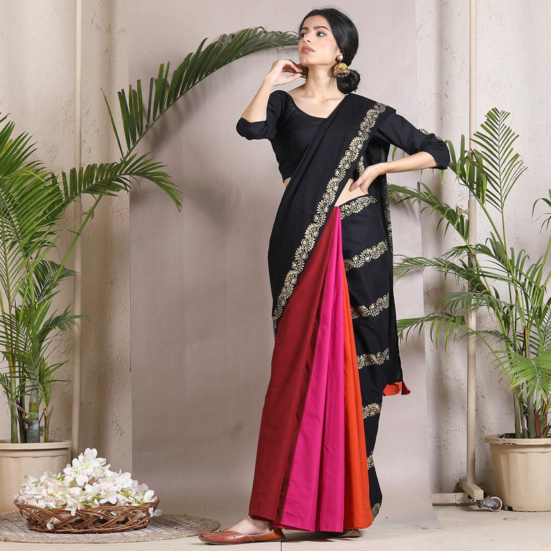 Black Floral Multicoloured Half & Half Saree with Tassel Details