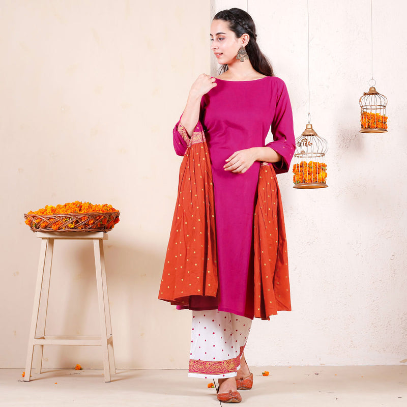 Candy Floss Festive Kurta Pant Set with Frill Dupatta
