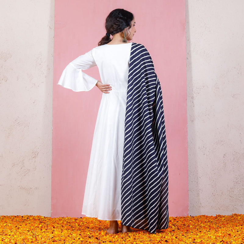 Indigo Leheriya Inspired Dupatta with Bell Sleeved Kalidaar Dress