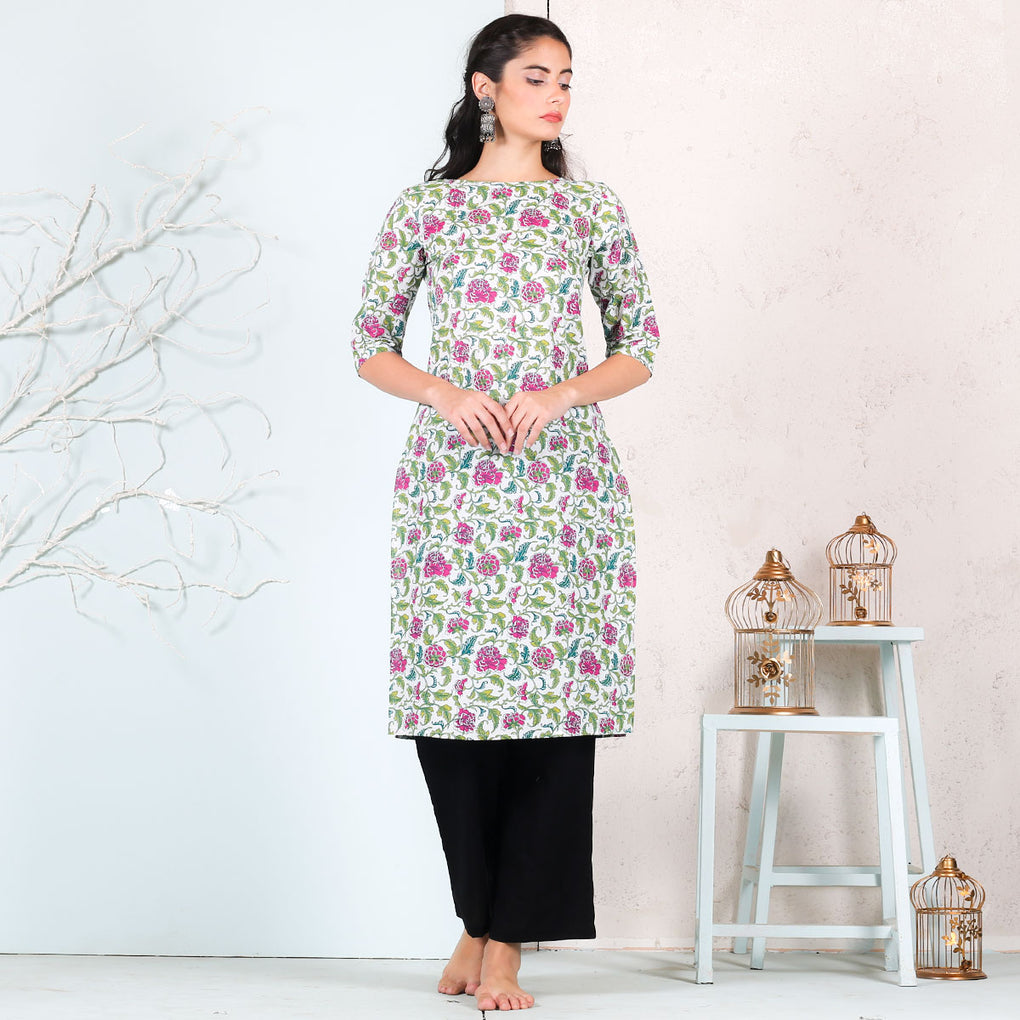 White Floral Printed Cotton Kurta
