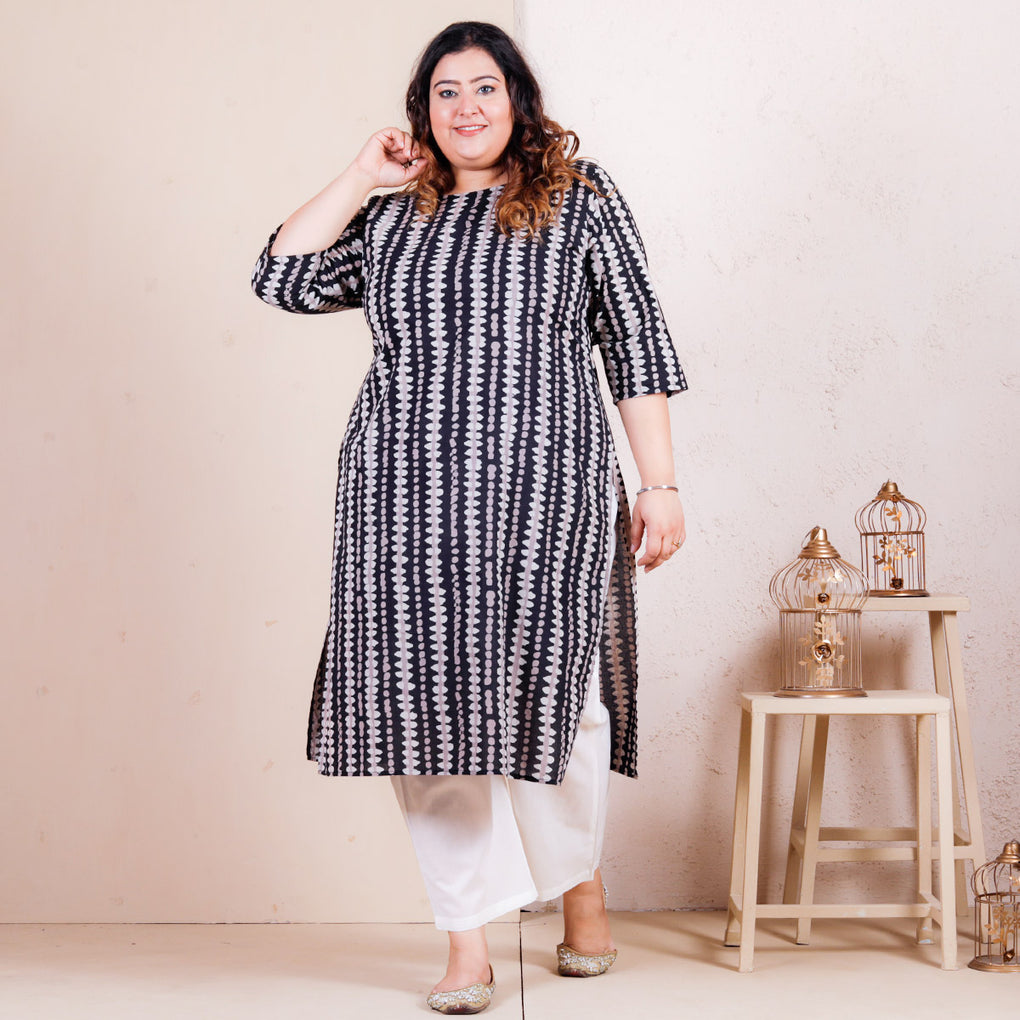 Stone Black Printed Straight Cotton Kurta - SOY