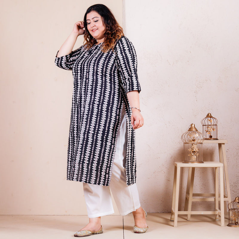 Stone Black Printed Straight Kurta - SOY