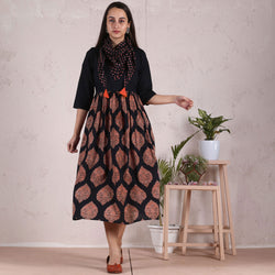 Black Buta Gathered Dress with Scarf Details