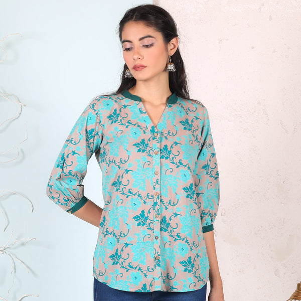 Teal Blue Floral Printed Shirt