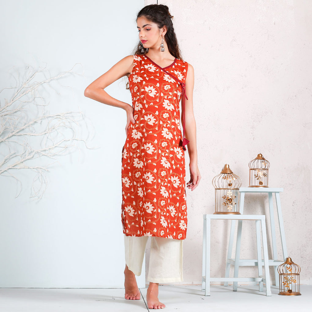 Rust Floral Printed Cotton Angrakha Kurta with Dori Details
