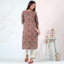 Beige Floral & Black Striped Kurta