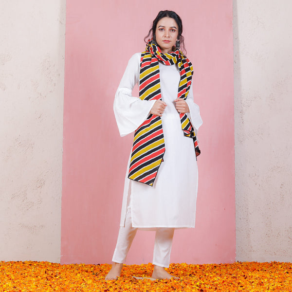 Black Yellow & Rust Leheriya Inspired Dupatta with Bell Sleeved Salwar Kurta