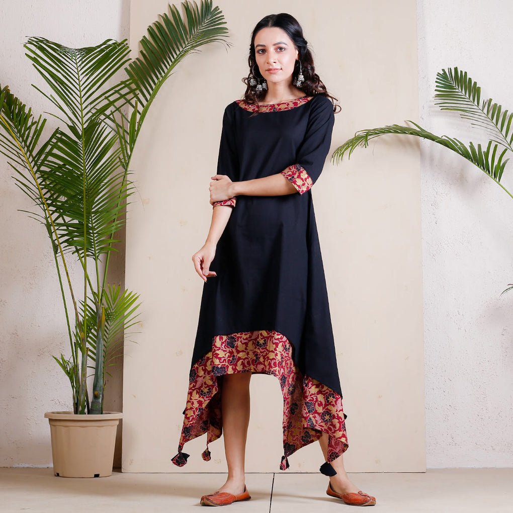 Black Asymmetric Cotton Dress with Maroon Printed Underlayer