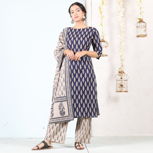 Blue & Beige Buti Printed Kurta Set