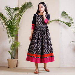 Black Sanganer Inspired Gathered Cotton Dress with Border Details