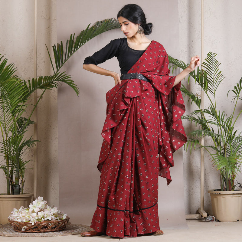 Maroon Buti Printed Ruffle Cotton Saree