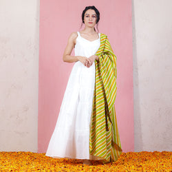 Kesar & Pista Leheriya Inspired Dupatta with White Tiered Dress