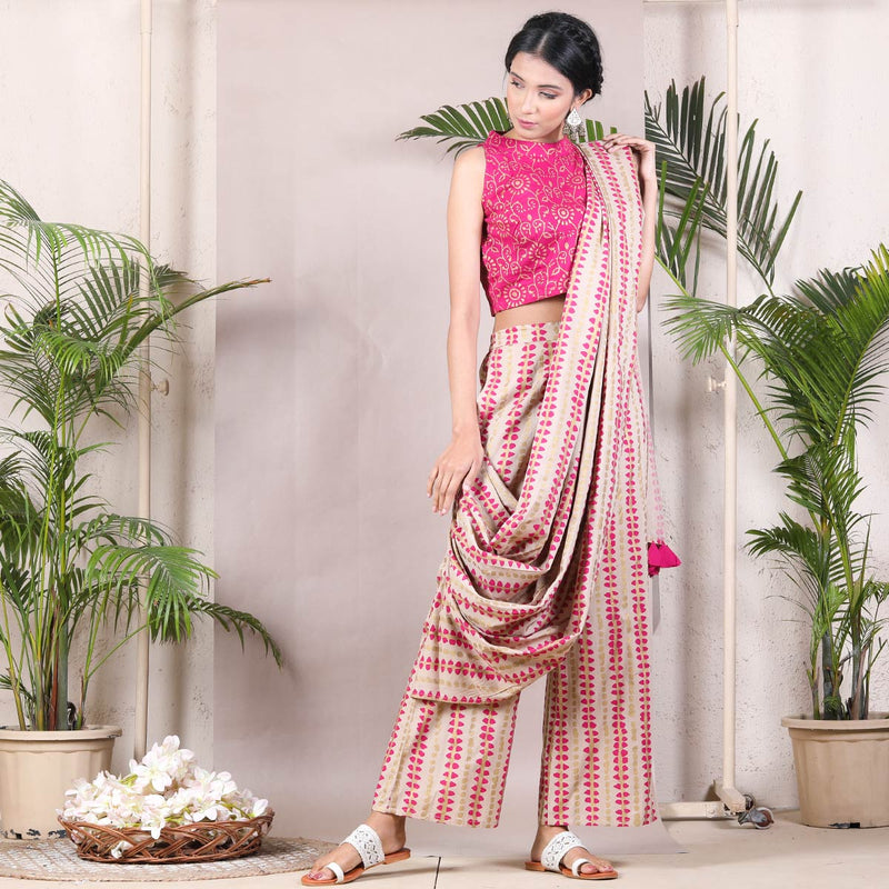 Beige & Magenta Stone Printed Cotton Pant Saree with Tassels