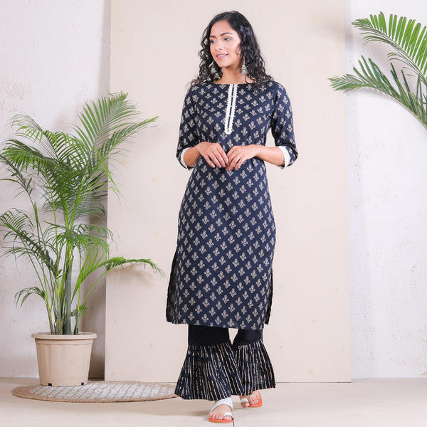 Striped Frill Pant with Black Buta Kurta Set