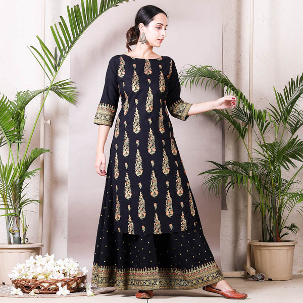 Black Festive Gold Printed Kurta with Black Skirt