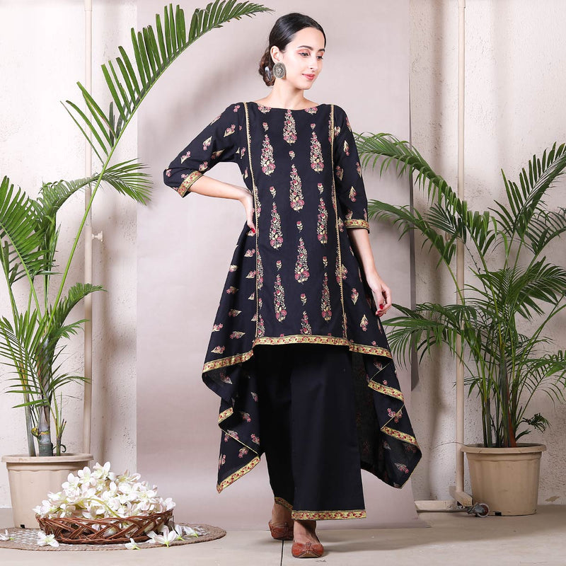 Black Festive Asymmetric Kurta with Palazzo