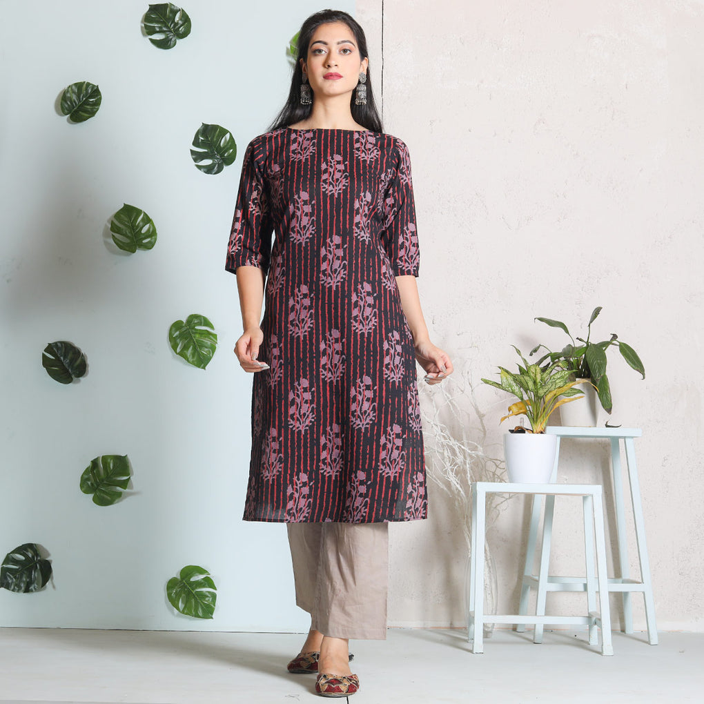 Black with Beige Buta & Peach Cotton Kurta