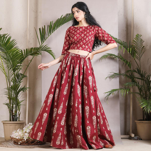 Maroon Floral Printed Lehenga Crop Top Set