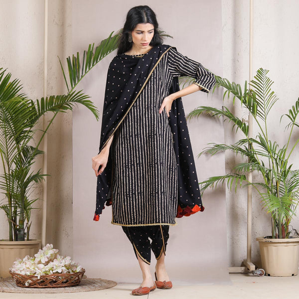 Black Striped & Polka Dhoti Kurta Dupatta Set with Tassel Details