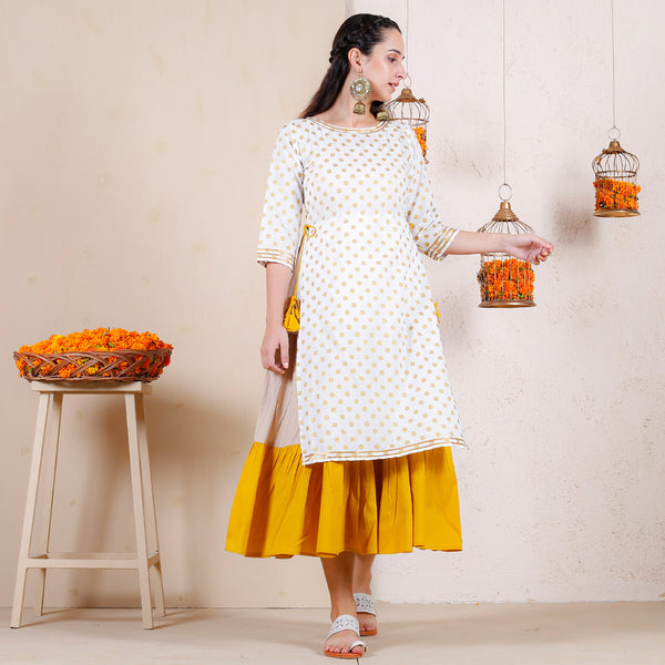 Haldi Over Layered Tiered Kurta Dress with Tassel Details