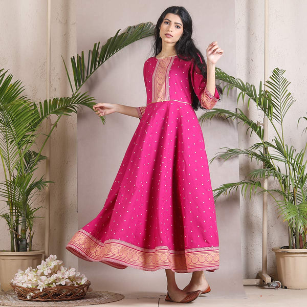 Gulabo Pink Polka Kalidaar Dress with Border Details
