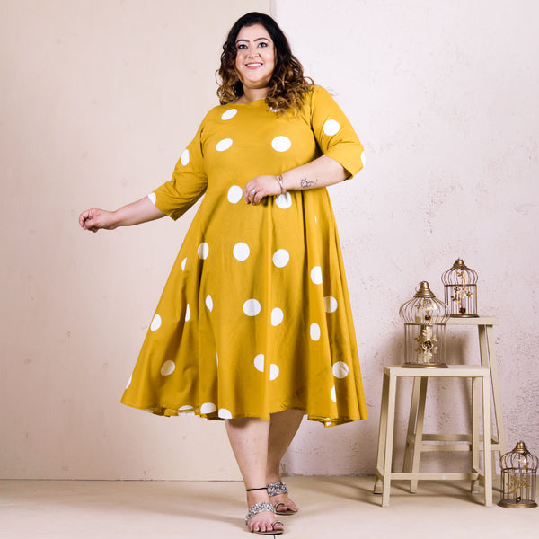 Yellow & Off White Hand Printed Polka Dot Dress - SOY