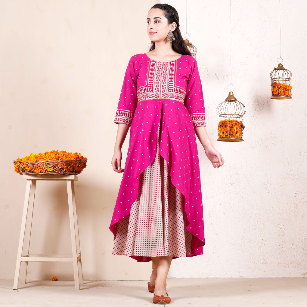 Magenta Festive Layered Cotton Dress with Gota Details
